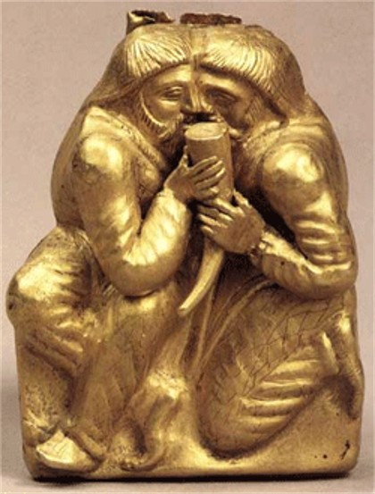 Image -- A Scythian gold statuette depicting the ritual of brotherhood (from the Kul Oba kurhan).