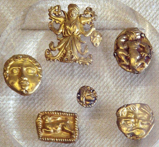 Image -- Scythian gold objects from the Kul Oba kurhan.