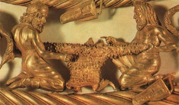 Image -- A detail of a Scythian gold pectoral from the Tovsta Mohyla kurhan, 4th century BC (Museum of Historical Treasures of Ukraine).