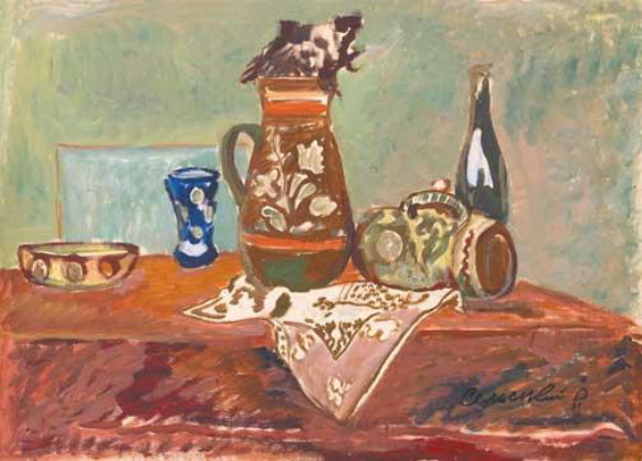 Image - Roman Selsky: Still Life with Embroidered Napkin (1970s).