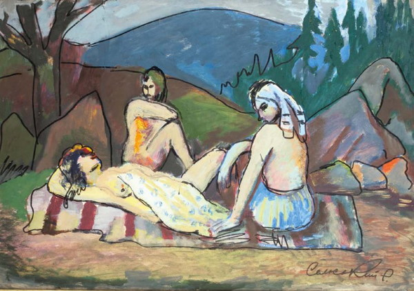 Image - Roman Selsky: Twilight Girls Resting (1950s).