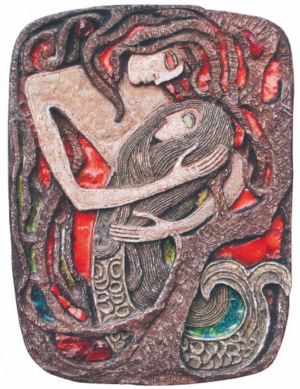 Image - Halyna Sevruk: Perelesnyk and Rusalka (ceramic, 1970).