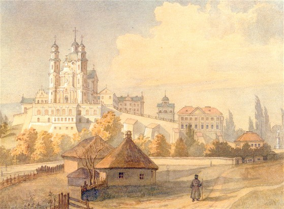 Image - Taras Shevchenko: Pochaiv Monastery viewed from the South (1846).