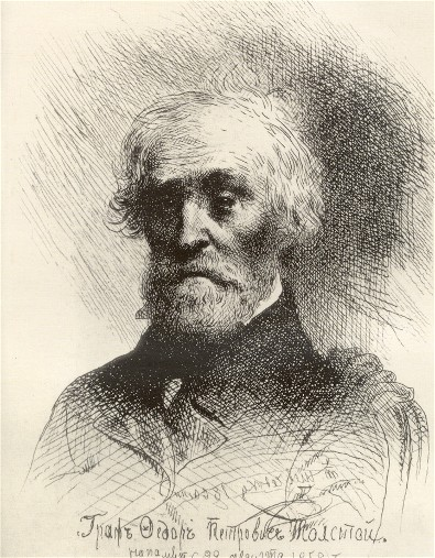 Image - Fedor Tolstoy (etching by Taras Shevchenko, 1860).