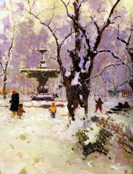 Image - Serhii Shyshko: Park in Winter (1960).