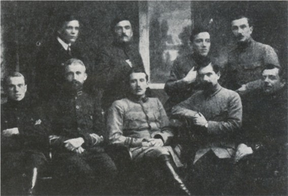 Image -- Members of the last supreme command of the Sich Riflemen (Lutsk, January 1920). Sitting, from left: M. Matchak, A. Melnyk, Ye. Konovalets, R. Sushko, I. dankiv; standing: I. Andrukh, R. Dashkevych, V. Kuchabsky, Ya. Chyzh.