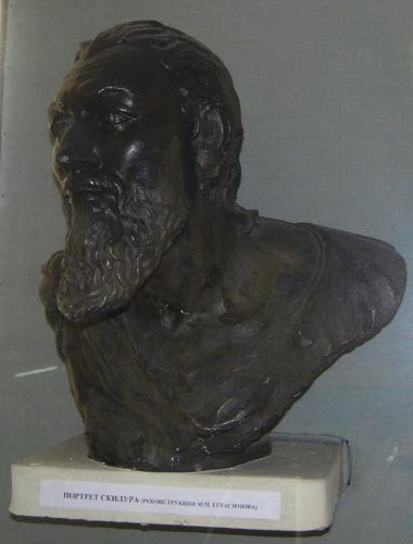 Image - A reconstructed bust of teh Scythian King Skhilouros from the mausoleum in Neapolis (near Simferopol in the Crimea).
