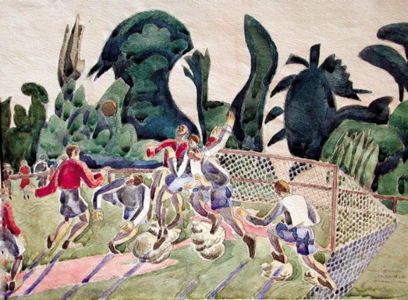 Image - Osyp Sorokhtei: Charging the Goal (1929).