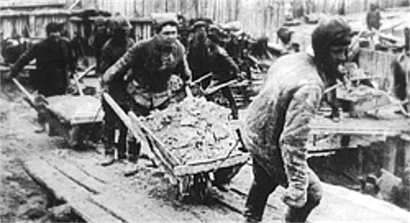 Image - Prisoners working in a Soviet labor camp.