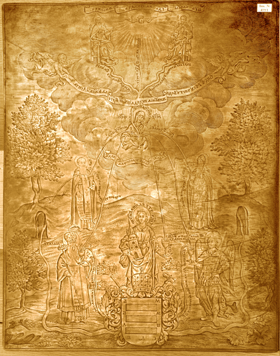 Image - The copper plate for Ivan Strelbytsky: The Transfiguration with View of the [Novhorod-Siverskyi] Transfiguration Cathedral (1695).