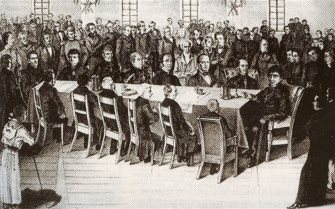 Image - The first meeting of the Supreme Ruthenian Council on 4 May 1848 (drawing by E. Blotnytsky).