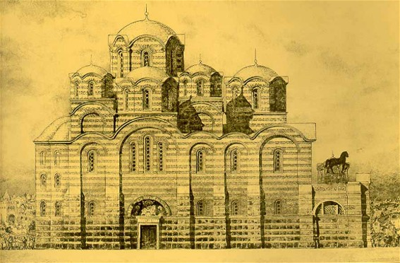 Image - A reconstruction of the original Church of the Tithes (drawing).