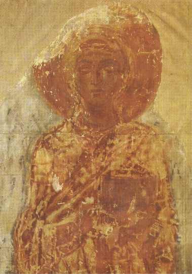 Image - Cathedral of Transfiguration in Chernihiv: Saint Teklia fresco (11th century).