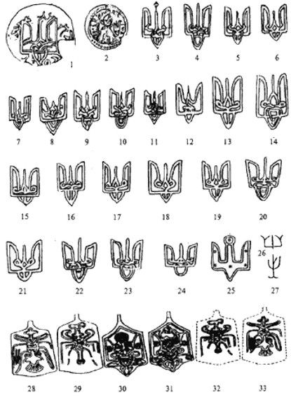Image -- Trident design on Kyivan Rus' coins (coins 1 to 24 from the times of Volodymyr the Great).