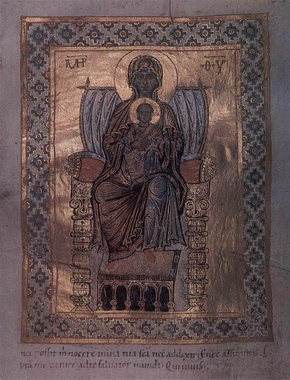 Image - The 11th-century illumination of the Theotokos in the Trier Psalter.