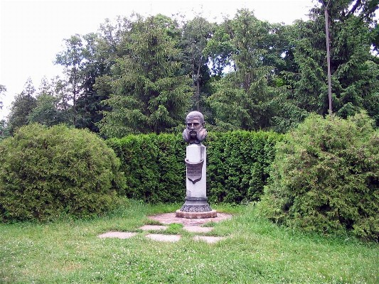 Image -- Ivan Skoropadsky's monument in the Trostianets Dendrological Park.