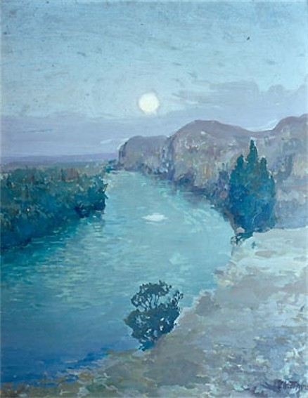 Image - Ivan Trush: An Evening Landscape with the Jordan River.