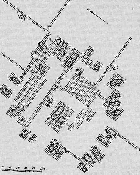Image - Plan of a Bronze Age Trypilian culture settlement at Kolomyishchyna, Kyiv region; drawing according to T. Passek, 1949.
