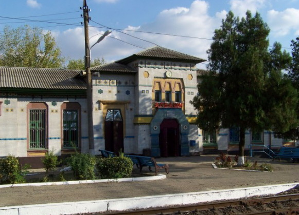 Image -- A railway station building in Albashi, Kuban region, designed by Serhii Tymoshenko.