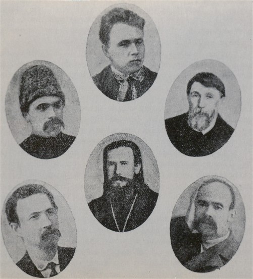 Image - Founders of the Ukrainian Duma Hromada in the Second Russian State Duma: (1907) top row, from left: Yukhym Saiko, Vasyl Khvist, Nyfont Dovhopolov; bottom row: Mykola Rubis, Rev Antonii Hrynevych, Semen Nechytailo.