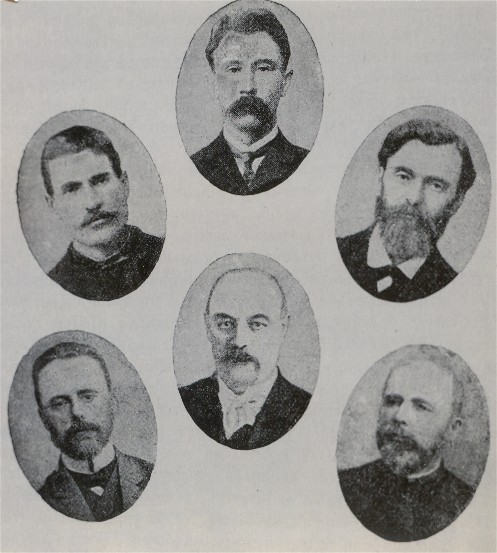 Image - Founders of the Ukrainian Parliamentary Club in the First Russian State Duma: (1906) top row, from left: Mykola Onatsky, Vasyl Shemet, Pavlo Chyzhevsky; bottom row: Andrii Viazlov, Illia Shrah, Havrylo Zubchenko.