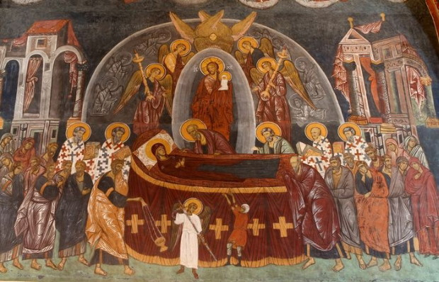 Image - Ukrainian fresco of the Dormition of the Mother of God in the Sandomierz Cathedral.