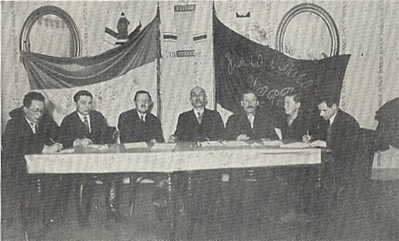 Image -- The Praesidium of the Ukrainian Socialist Radical Party convention in the People's Home in Lviv (1929). Centre: Ivan Makukh.