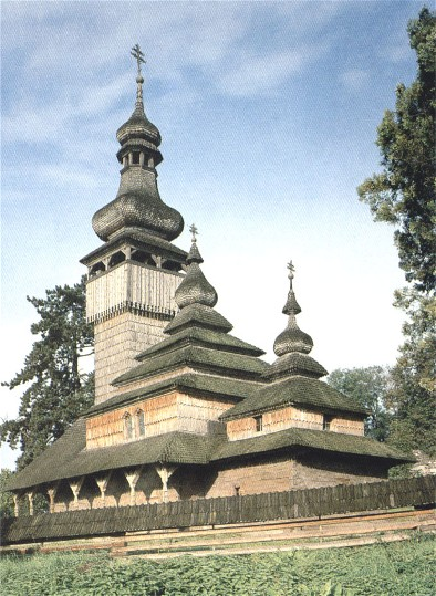 Image -- Saint Michael's wooden church (1777) from the village of Shelestova, now in the Uzhhorod museum of folk architecture and folkways.