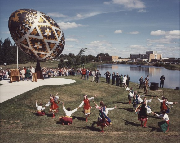 Image - The pysanka (Easter egg) monument in Vegreville, Alberta, Canada.