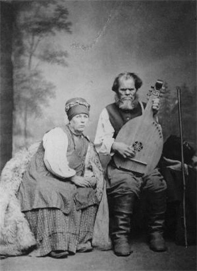 Image -- Kobzar Ostap Veresai and his wife Kulyna (1900s).