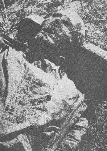 Image -- An exhumed victim of the Vinnytsia massacre.