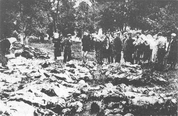 Image - Relatives identify exhumed victims of the Vinnytsia massacre.