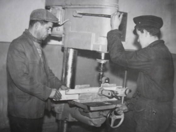 Image -- Practical learning at the Vocational-technical school No. 3 in Uzhhorod (1960s photo).