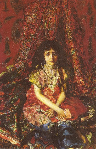Image - Mikhail Vrubel: Girl against the Background of a Persian Carpet (1886).