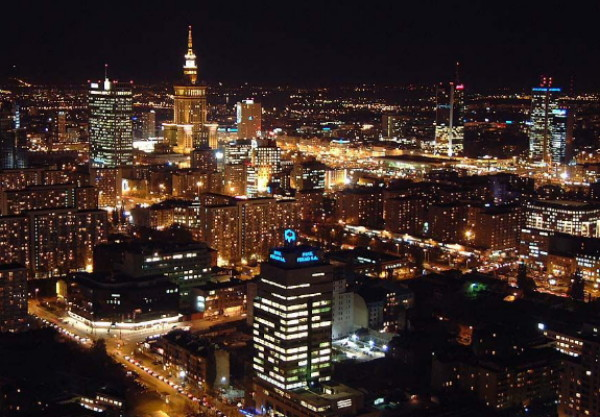 Image - Warsaw: night skyline.