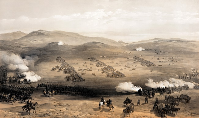 Image - Crimean War. William Simpson: Light Cavalry Charche at Balaklava, 1854.