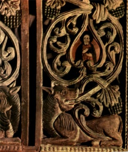 Image - Wood carving: fragment of an iconostasis from the Carpathian Mountains region (1655).
