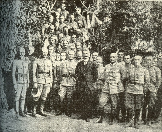 Image - Yevhen Petrushevych and Myron Tarnavsky with the UHA staff (Berdychiv, 1919).
