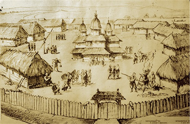 Image -- The Zaporozhian Sich (drawing after Riegelman).