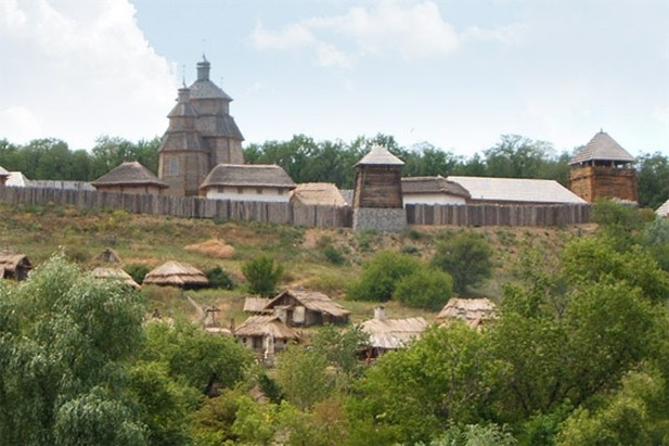 Image -- The reconstructed Zaporozhian Sich complex on the Khortytsia Island.